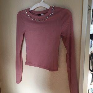 Blush pink sparkly crop top